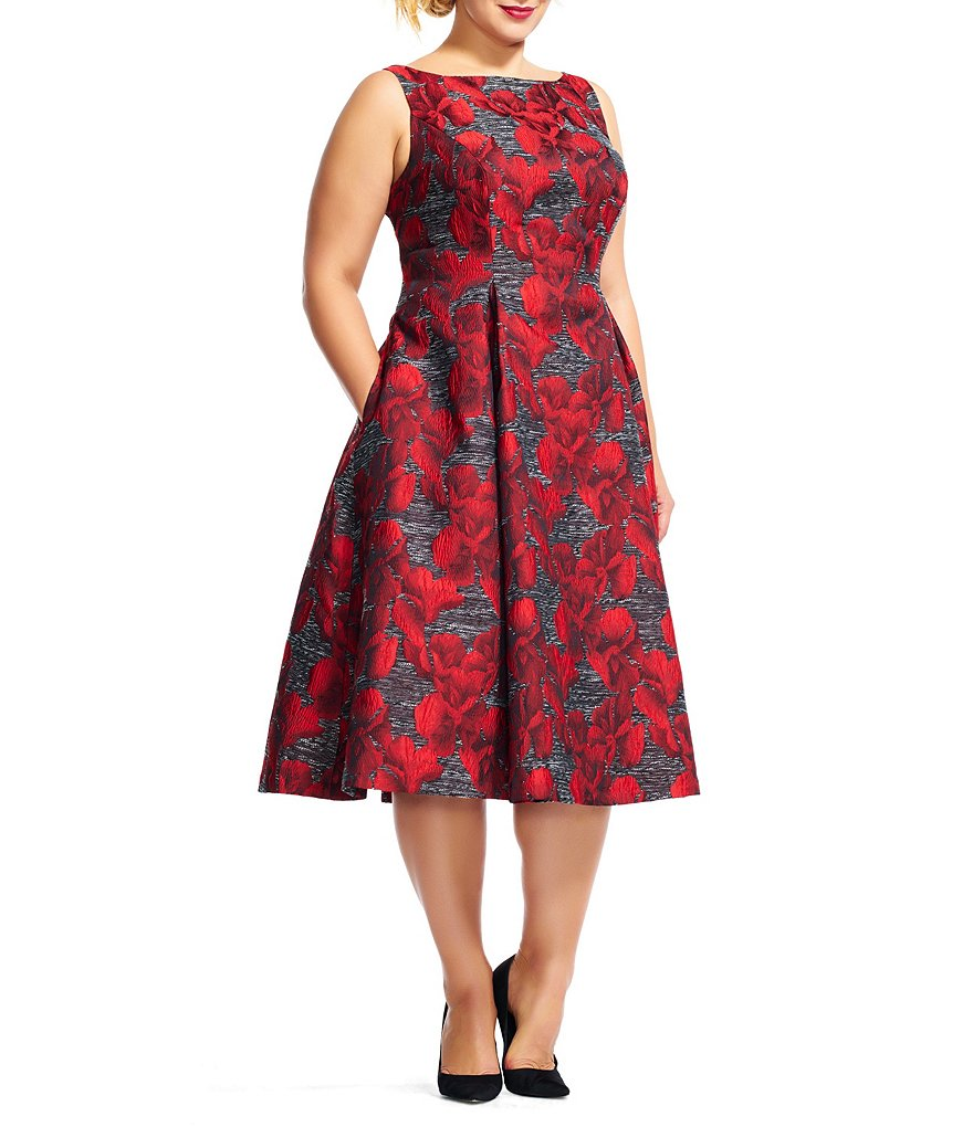 Adrianna Papell Plus Jacquard A-line Tea-Length Dress