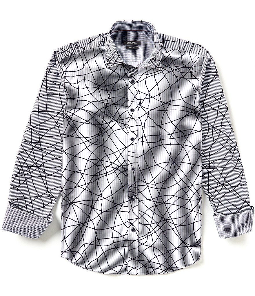 Bugatchi Long Sleeve Chaos Lines Shirt
