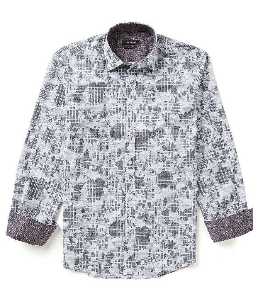 Bugatchi Long Sleeve Floral Grid Shirt