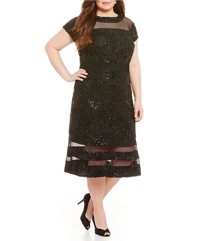 Brianna Plus Illusion Sequin A-Line Dress
