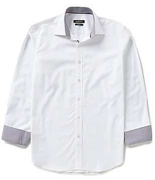 Bugatchi Long-Sleeve Solid Jacquard Woven Shirt
