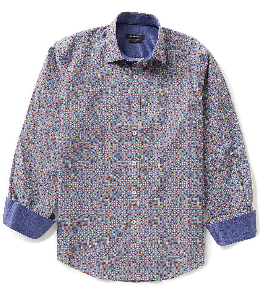 Bugatchi Long-Sleeve Geo Print Woven Shirt