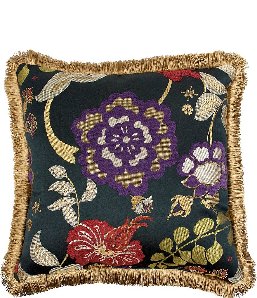 Austin Horn Classics Escapade Fringed Floral Square Pillow