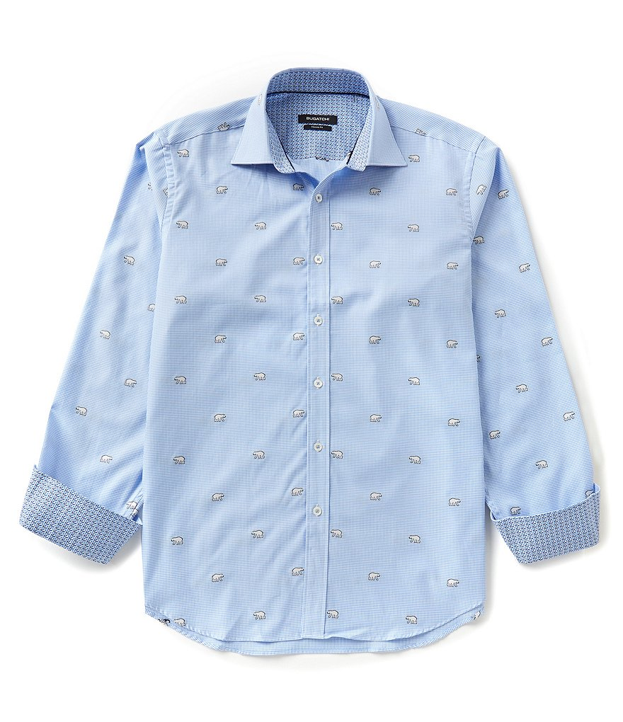 Bugatchi Long-Sleeve Button-Front Polar Bear Print Dobby Woven Shirt
