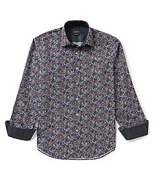 Bugatchi Long-Sleeve Prism Print Woven Shirt