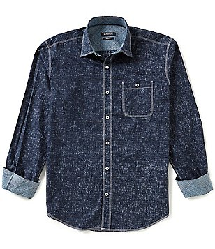 Bugatchi Long-Sleeve Fleck Woven Shirt