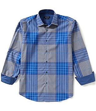 Bugatchi Long-Sleeve Check Print Woven Shirt