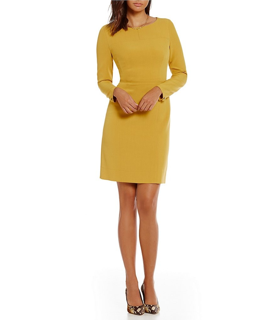 Anne Klein Long Sleeve Jeweled Neck Shift Dress