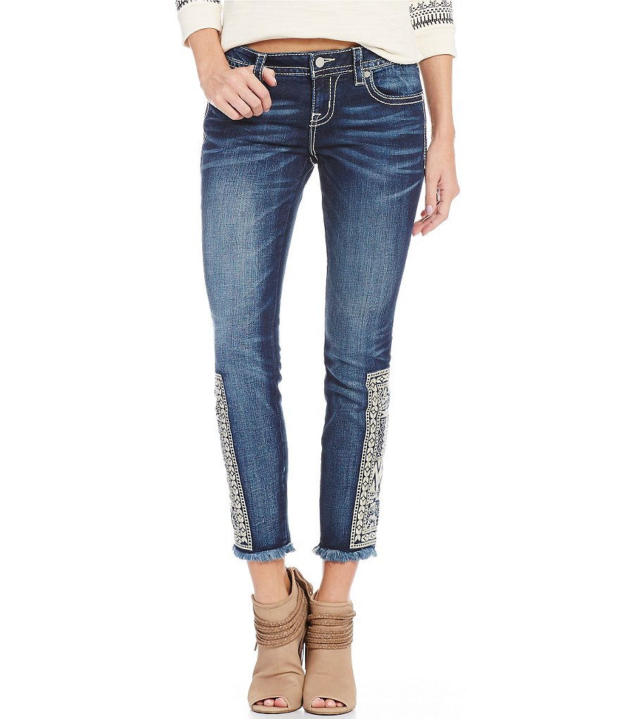 Miss Me Embroidered Fray Hem Skinny Jeans