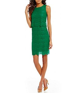 Anne Klein Lace Pop Over Lace Sheath Dress