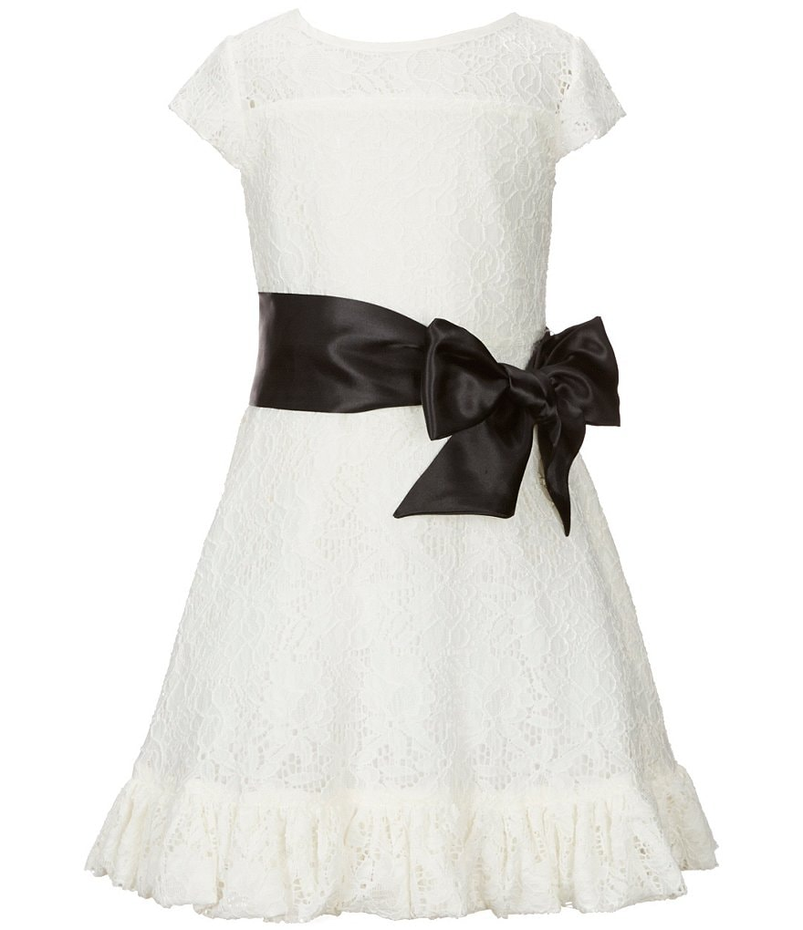 Little Angels by Us Angels Little Girls 2T-6X Ruffled Lace Bow Dress