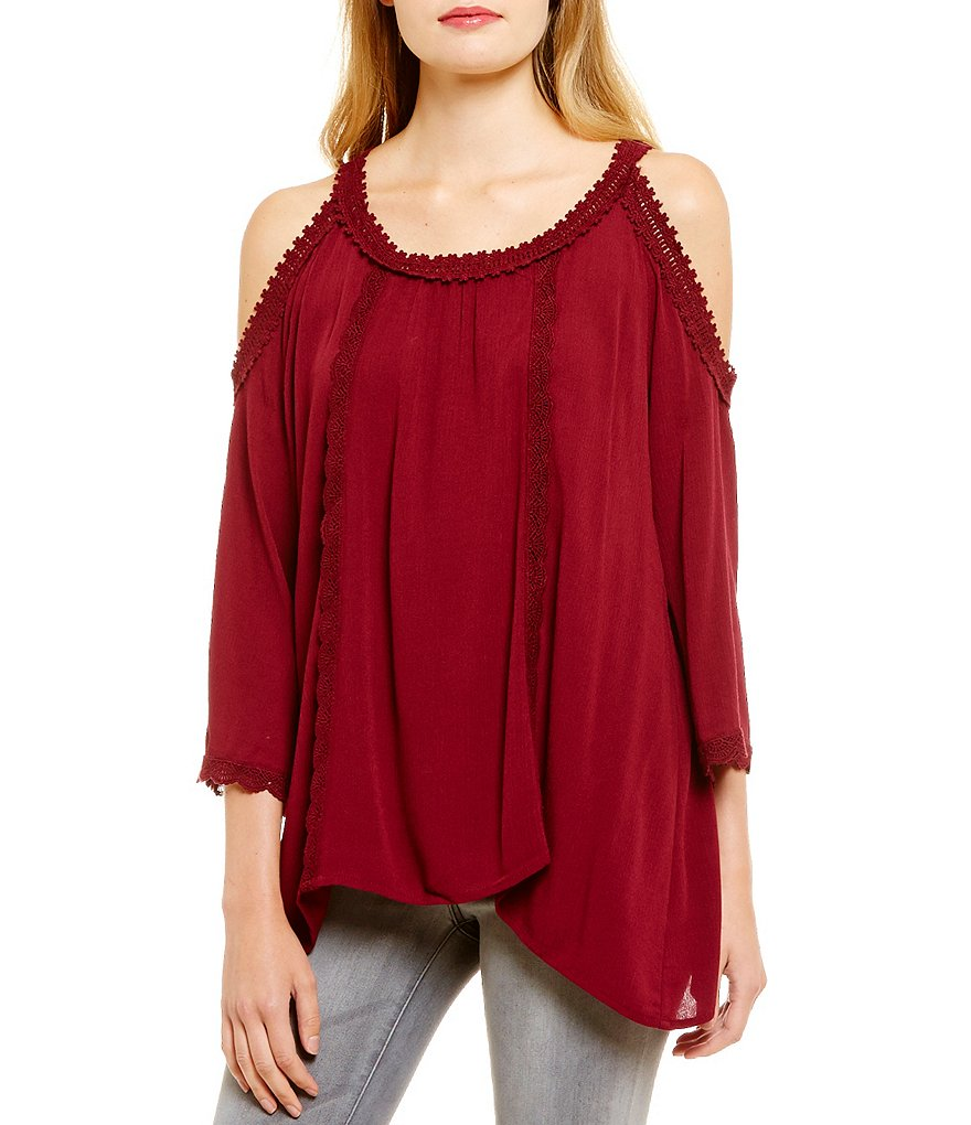 Eyeshadow Lace Trim Cold Shoulder Tunic