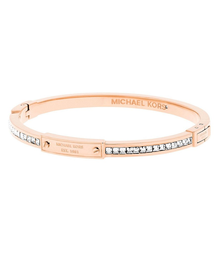 Michael Kors Logo Plaque Hinge Bangle Bracelet