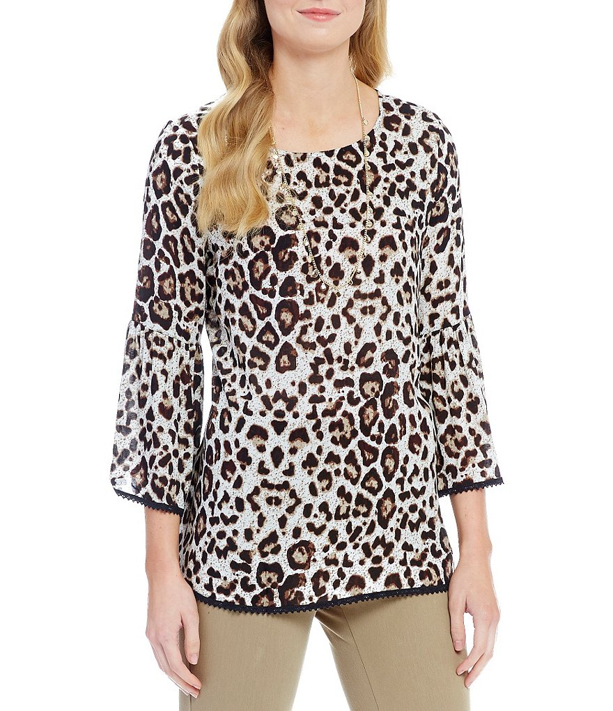 Westbound Petites 3/4 Sleeve Loop Hem Peasant Top