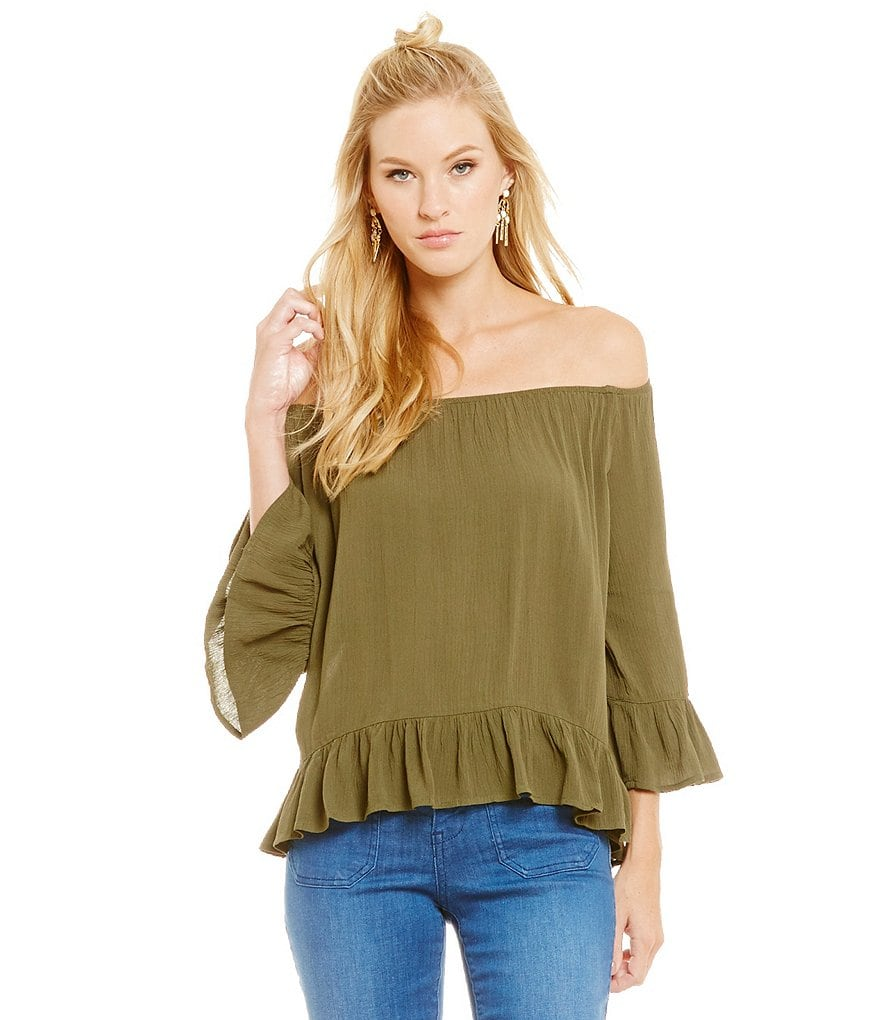 Sanctuary Julia Off the Shoulder 3/4 Sleeve Ruffle Top