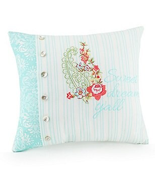 Jessica Simpson Ellie Sweet Dreams Y´all Floral-Embroidered Striped Pillow