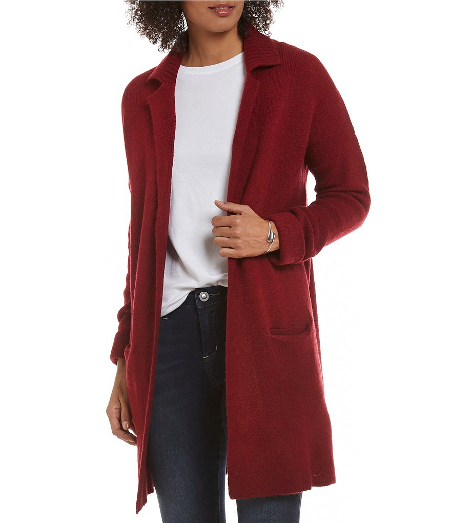 Fever Notch Collar Solid Sweater Topper Jacket
