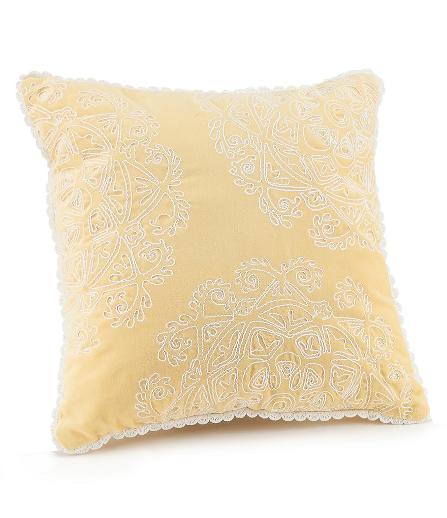 Jessica Simpson Ellie Crochet-Trimmed Embroidered Square Pillow