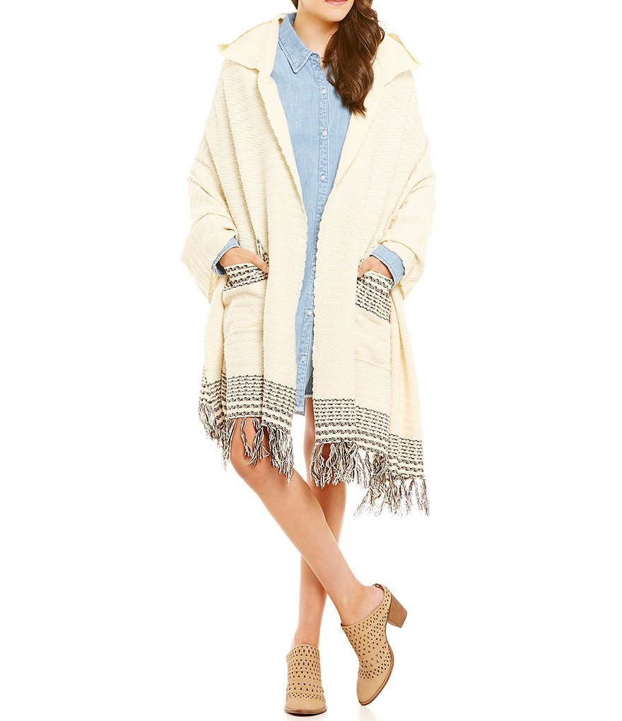 Roxy Soul Searchin Fringed Hooded Scarf Poncho