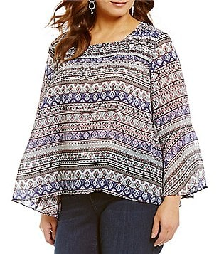Jessica Simpson Plus Wilma Scoop Neck Bell Sleeve Printed Blouse