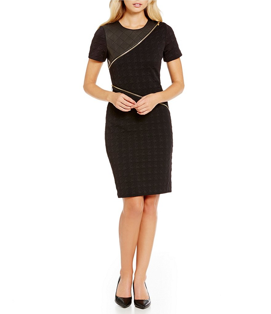 KARL LAGERFELD PARIS Faux-Leather Houndstooth Dress
