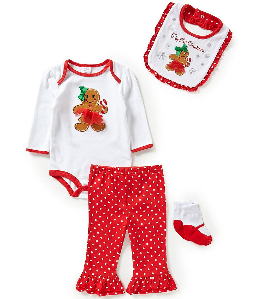 Starting Out Baby Girls Newborn-9 Months Christmas Gingerbread 4-Piece Layette Set