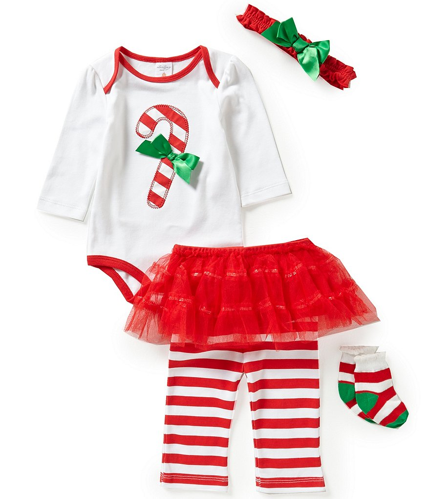 Starting Out Baby Girls Newborn-9 Months Christmas Candy Cane 4-Piece Layette Set