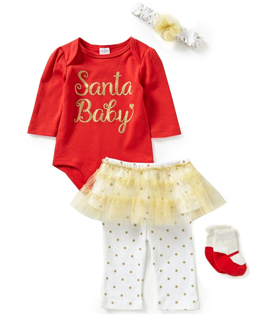 Starting Out Baby Girls Newborn-9 Months Christmas Santa Baby 4-Piece Layette Set