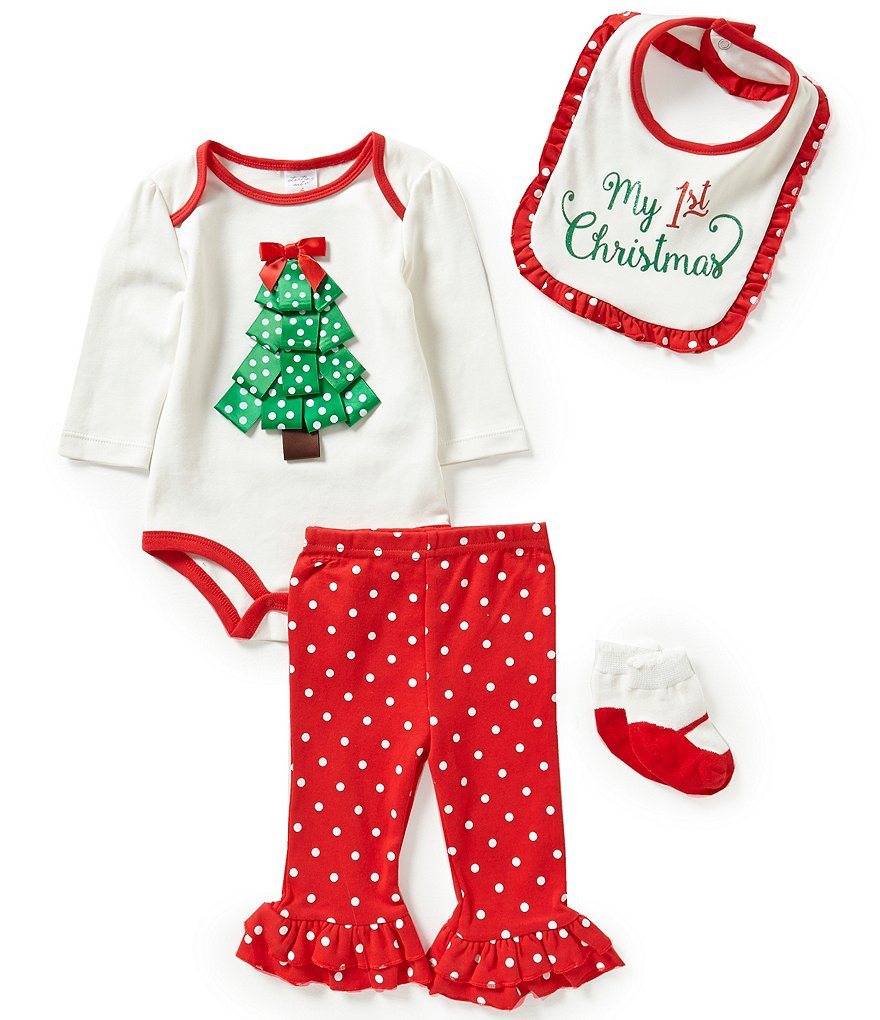 Starting Out Baby Girls Newborn-9 Months Christmas Ribbon Tree 4-Piece Layette Set