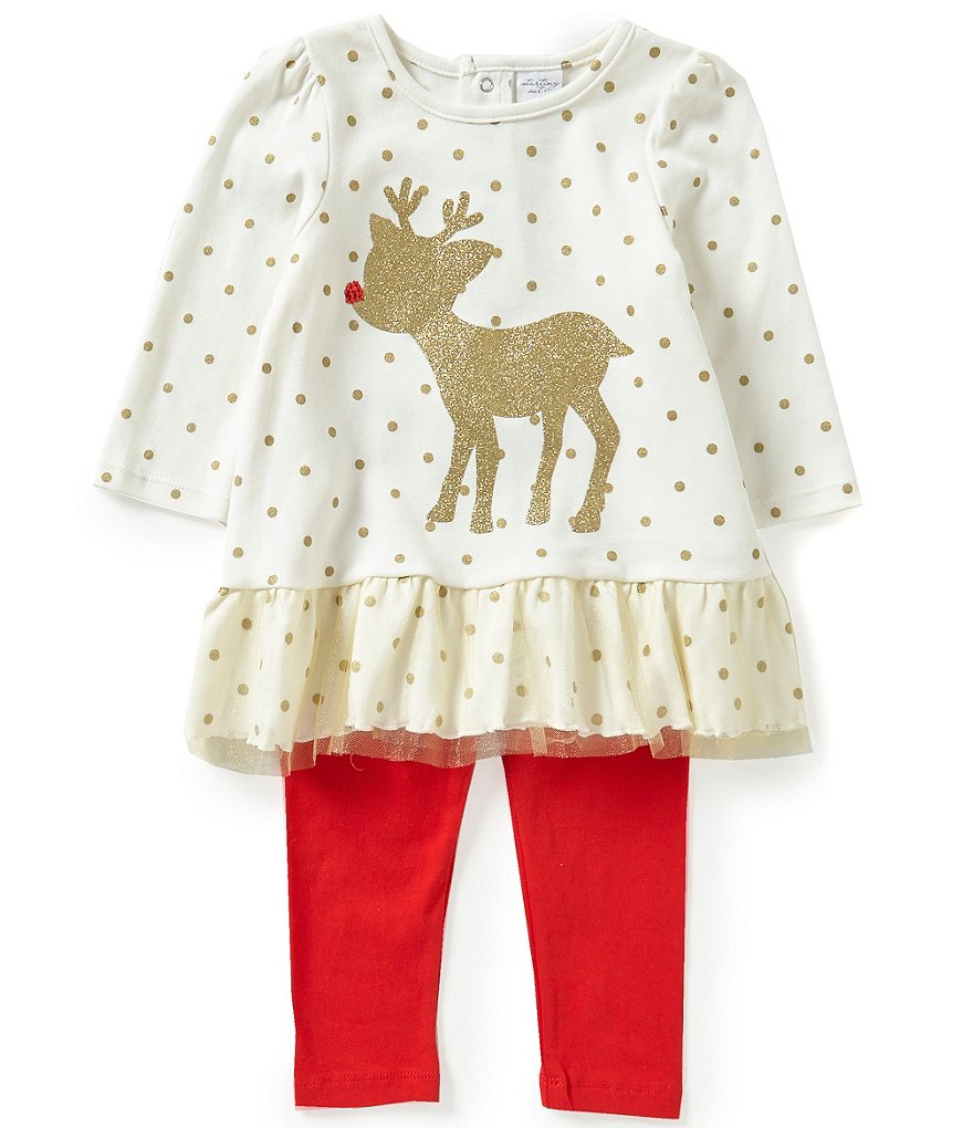 Starting Out Baby Girls 12-24 Months Christmas Reindeer Appliquéd Tunic and Leggings Set