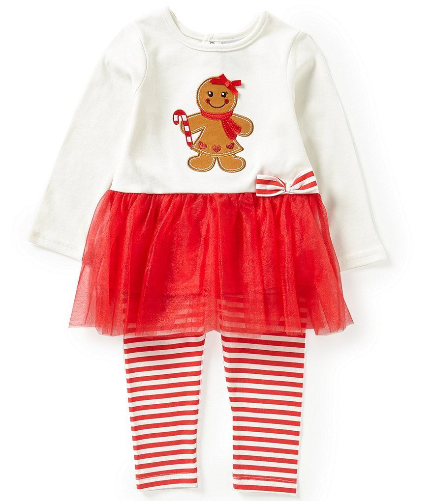 Starting Out Baby Girls 12-24 Months Christmas Gingerbread Girl-Appliquéd Tunic and Leggings Set