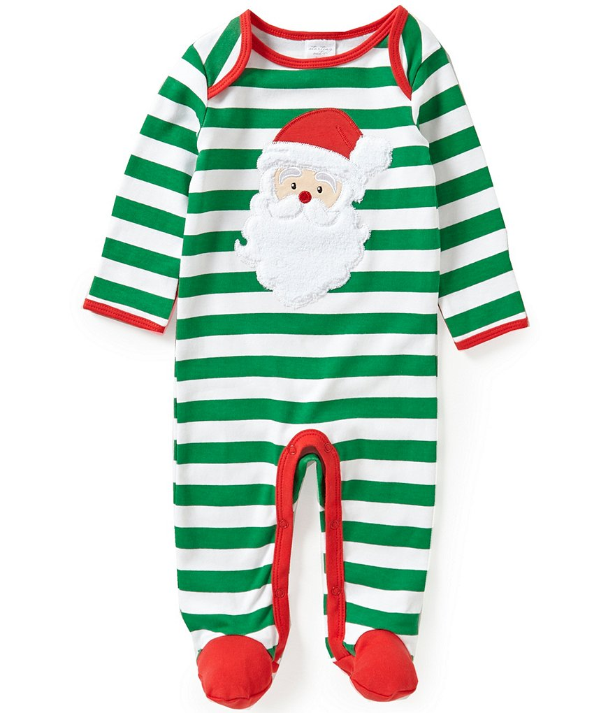 Starting Out Baby Boys Newborn-9 Months Christmas Santa Face-Appliquéd Striped Coverall