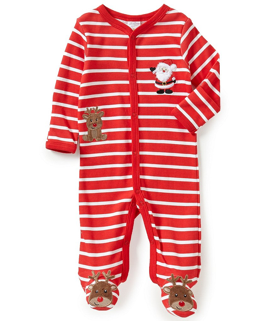 Starting Out Baby Boys Newborn-9 Months Christmas Santa and Rudolph-Appliquéd Footed Coverall