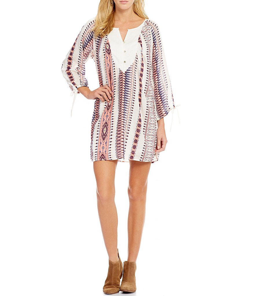 Roxy World´s Greatest Printed Tie-Sleeve Shift Dress