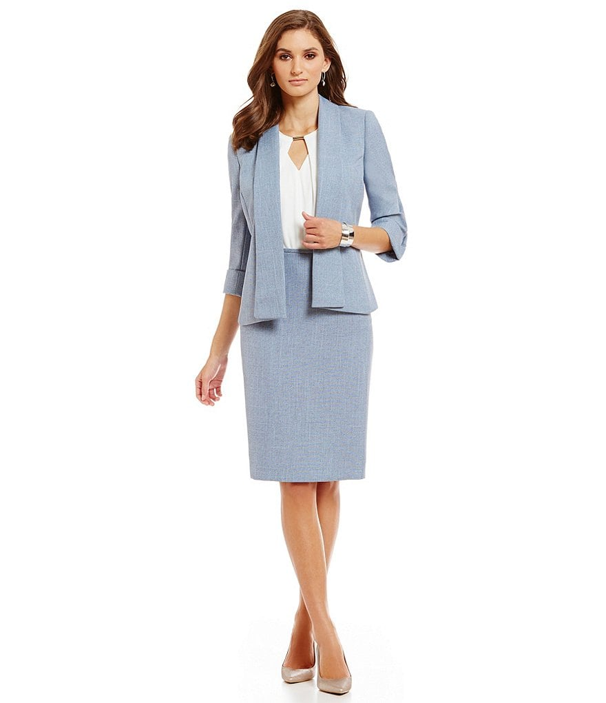 Preston & York Pam Crosshatch Suiting Jacket & Kelly Skirt