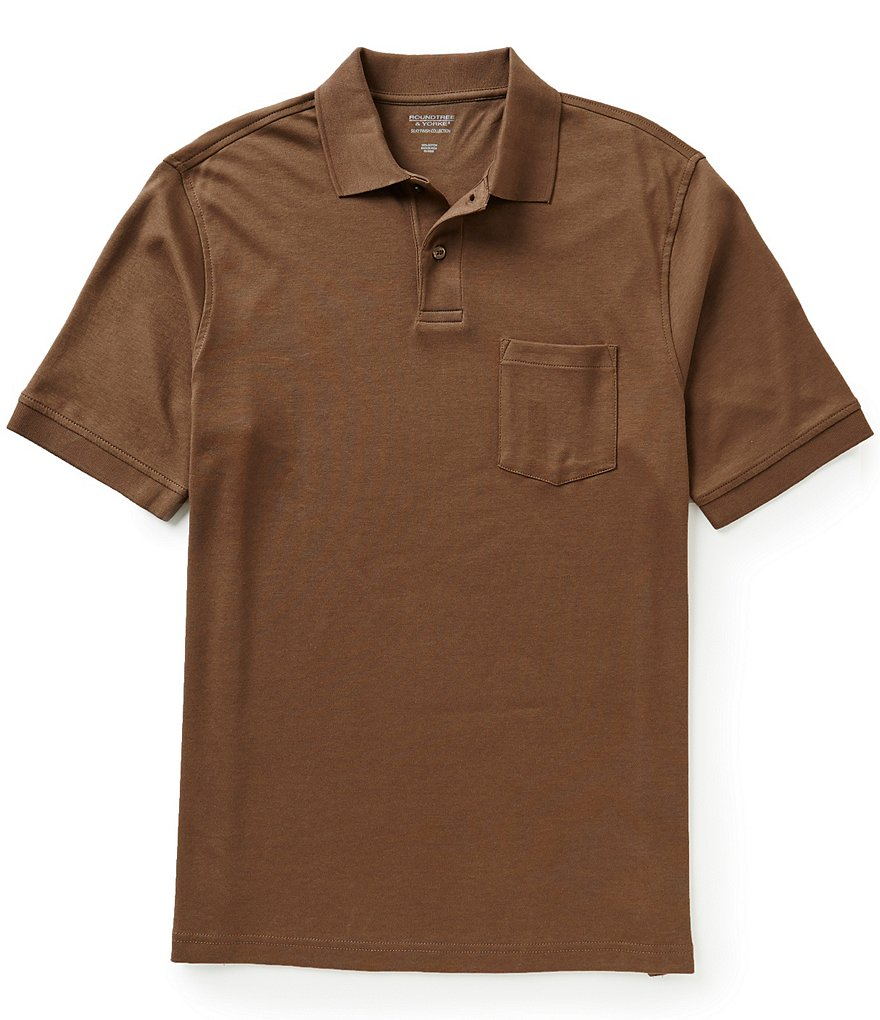 Roundtree & Yorke Big & Tall Silky Finish Short-Sleeve Solid Polo with Pocket