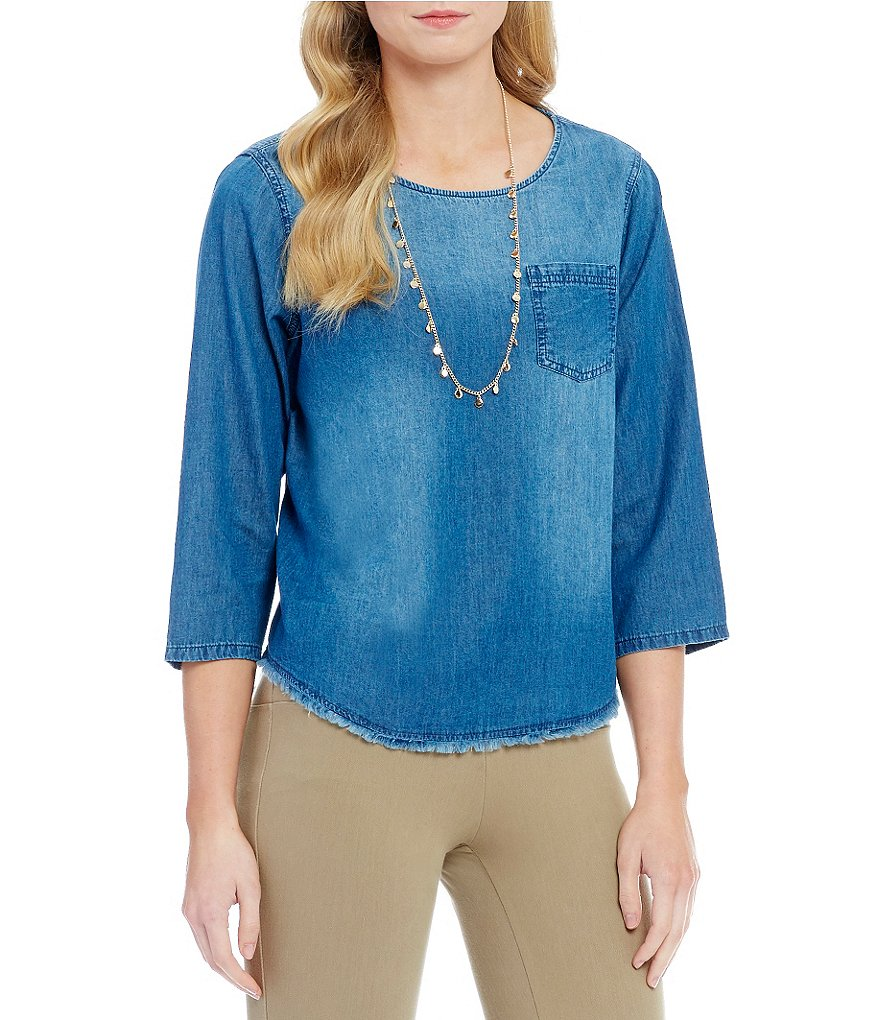 Westbound Pocket 3/4 Sleeve Fringe Hem Top
