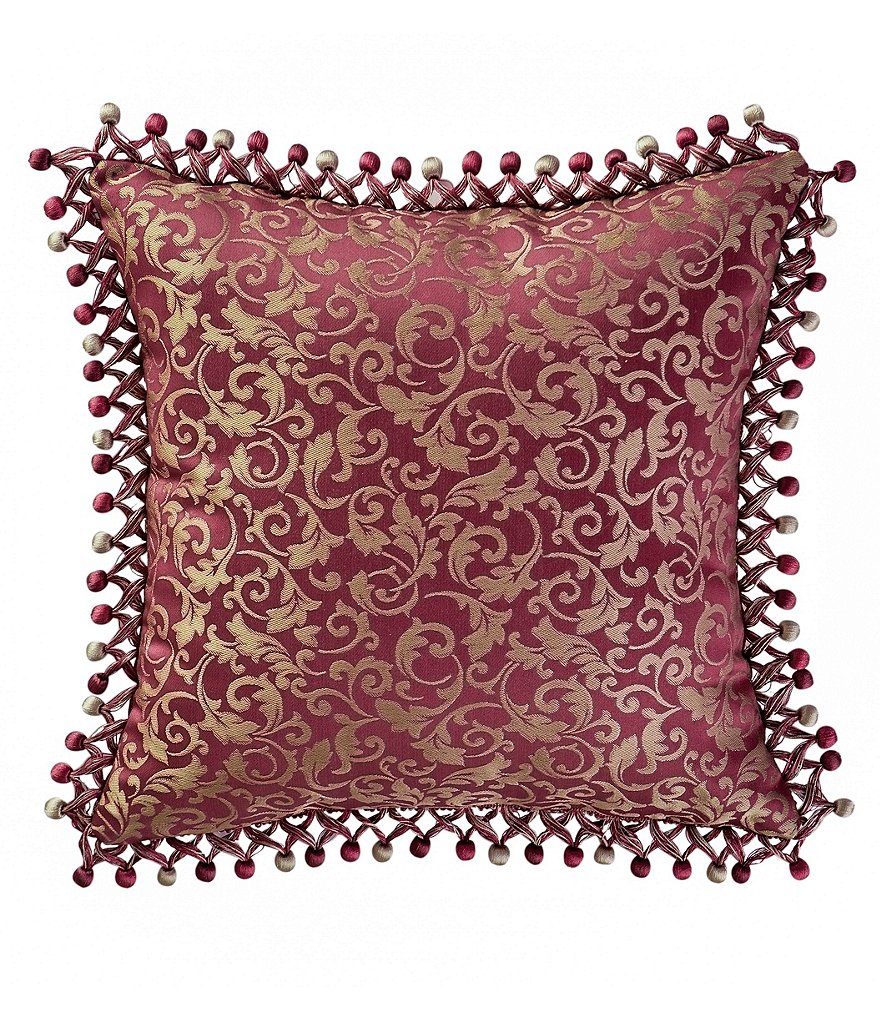 Waterford Athena Tasseled Embroidered Damask Square Pillow