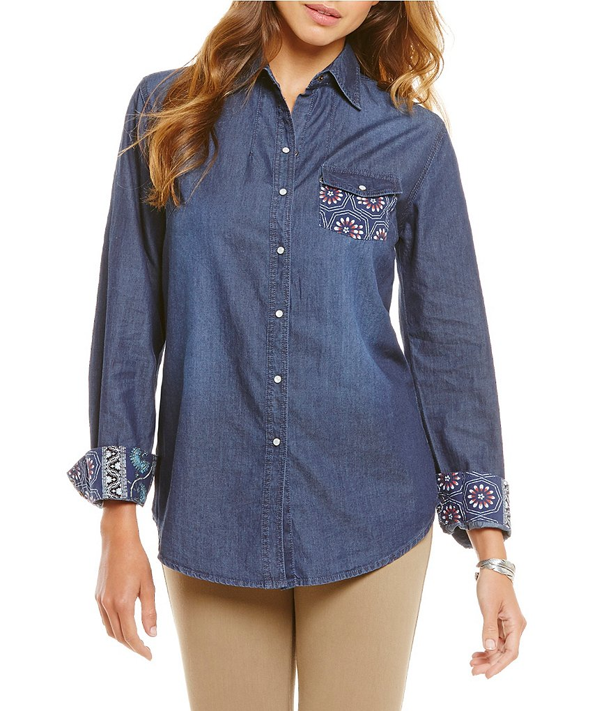 Westbound Long Sleeve Snap Button Front Shirt