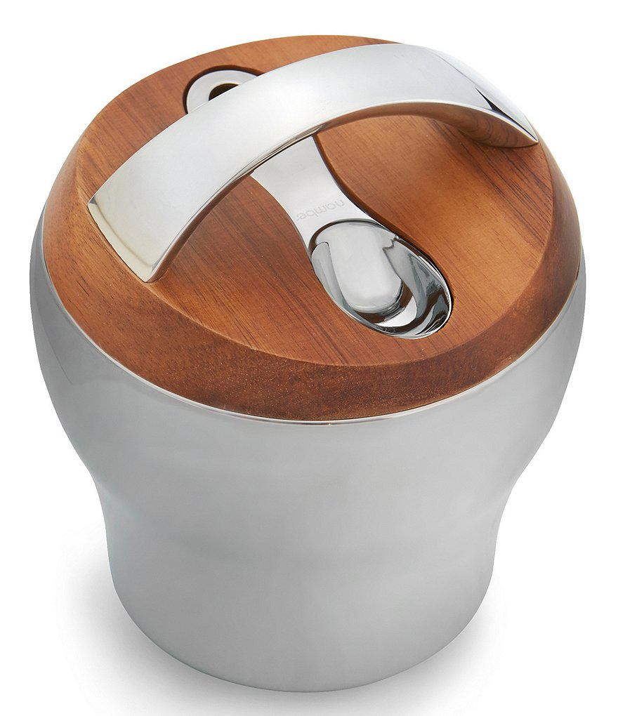 Nambe Bulbo Stainless Steel & Acacia Wood Coffee Canister with Scoop