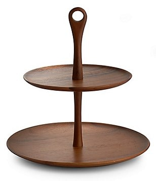 Nambe Skye Two-Tiered Acacia Wood Dessert Server