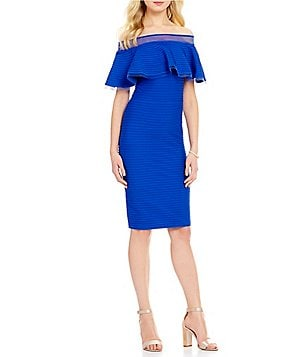 Tadashi Shoji Ruffle Off-the-Shoulder Sheath Dress