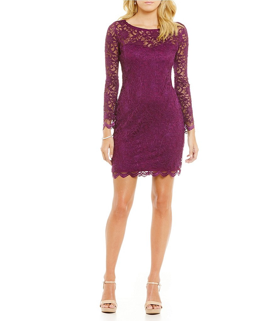 Jump Long Sleeve Lace-Up-Back Lace Sheath Dress