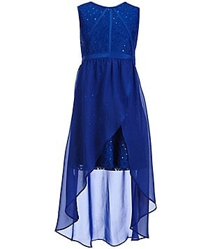 Tween Diva Big Girls 7-16 Sequined Lace Hi-Low Sheath Dress