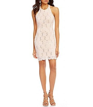 Jump Sleeveless Scalloped-Hem Sequin Lace Sheath Dress