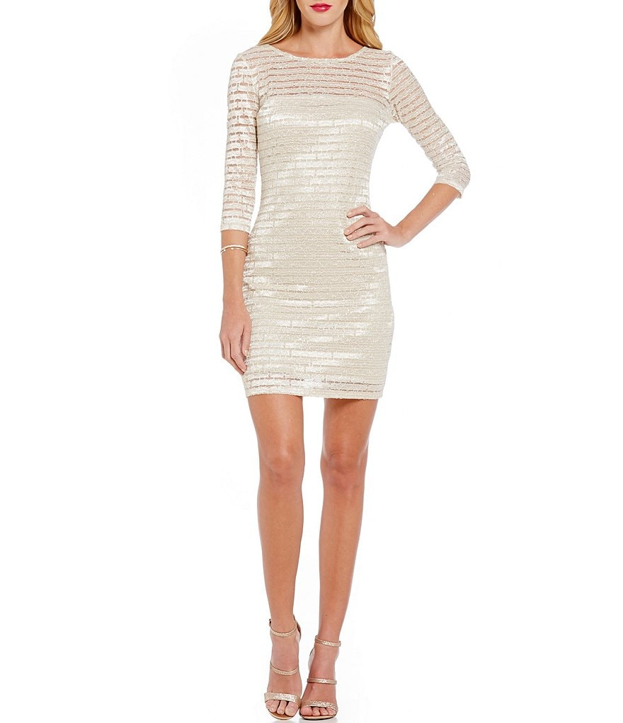 Jump Glitter-Accented Striped Lace Sheath Dress