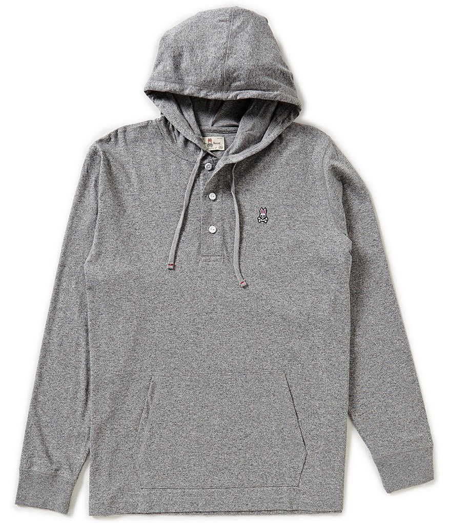 Psycho Bunny Long-Sleeve Button Placket Hoodie