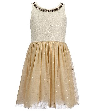 Hannah Banana Black Label Big Girls 7-16 Rhinestone-Neckline Skater Dress