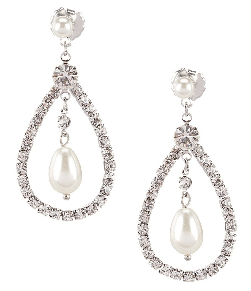 Belle Badgley Mischka Pearl Swing Drop Earrings