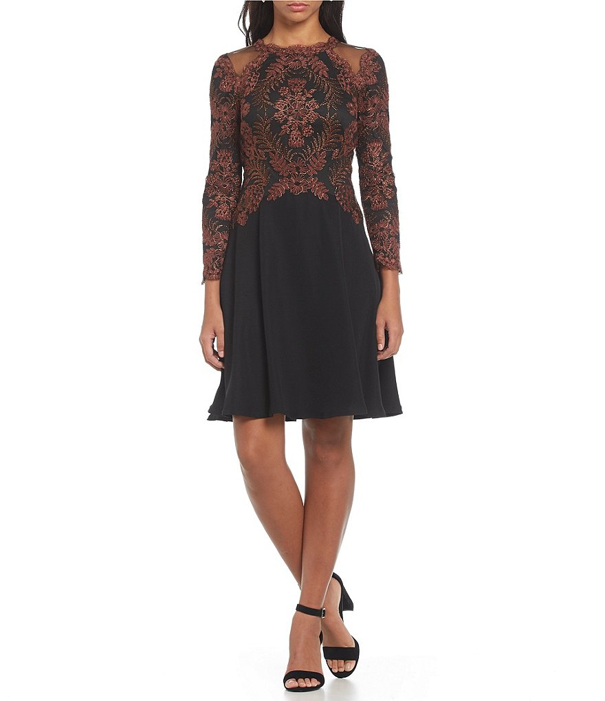 Tadashi Shoji Metallic Embroidery Fit-and-Flare Dress
